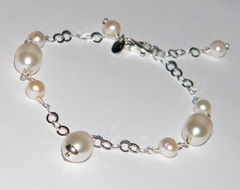 925 silver bracelet with freshwater pearls