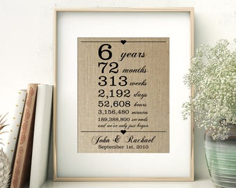 6th Wedding Anniversary Gift for Wife Husband | 6 Years Together | Years Months Weeks Days Hours Minutes Seconds | Personalized Burlap Print
