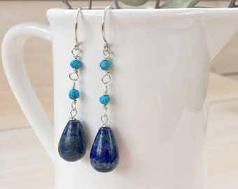 Lapis Lazuli and Turquoise Earrings in Sterling Silver