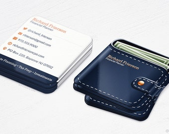 Wallet Business Cards - Financial Planner - Money - Rounded Corners - Design and Printing - 250, 500, 1000, 2500 | FREE Shipping |