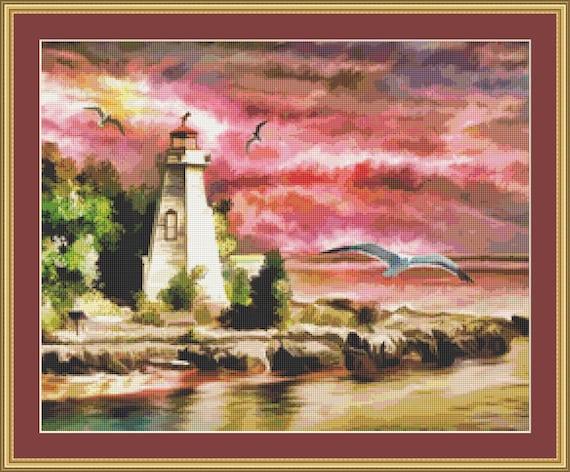 A Lighthouse At Sunset Cross Stitch Pattern - Digital Download