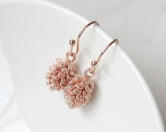 Rose gold pinecone earrings, Nature inspired, Nature earrings, Woodland earrings, Forest earrings, Winter earrings, Pine cone earrings