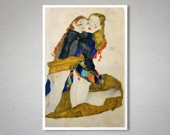 Kneeling Girls by Egon Schiele Fine Art Print - Poster Paper, Sticker or Canvas Print / Gift Idea