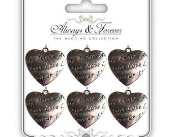 """6 vintage """"Amore - Love"""" - 26 mm AFMCHRM006 metal hearts"""