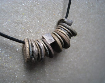 Rustic Bronze Disks and Beads Necklace - Bronze Necklace - Handmade Disk Necklace - Rustic Necklace