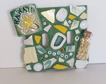 Hand Made Aloha Hawaii Seashells Mosaic Double Light Switch Plate Cover New