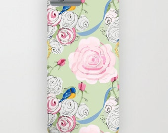 Cell Phone Case, Shabby Chic bluebirds and roses
