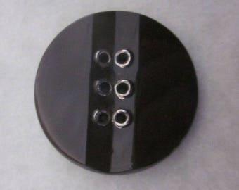 Six Hole Glass Art Deco Button.  Dark Brown Button  OneWomanRepurposed B496