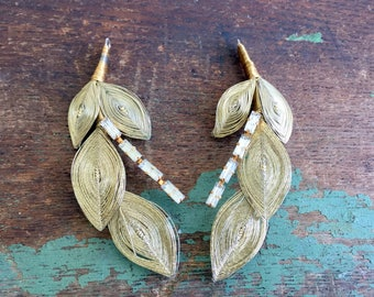 Vintage Pair Two Spun Gold Leaves with Clear Rhinestone Pendants