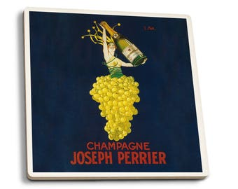France - Joseph Perrier Champagne - Vintage Ad (Set of 4 Ceramic Coasters)