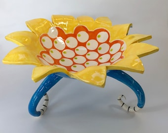 colorful pottery Serving Dish, sunny yellow, tangerine orange & bright blue ceramic Fruit Bowl with polka-dots and curly legs