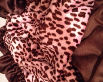 Girl  pink animal print minky brown minky and satin ruffle to match