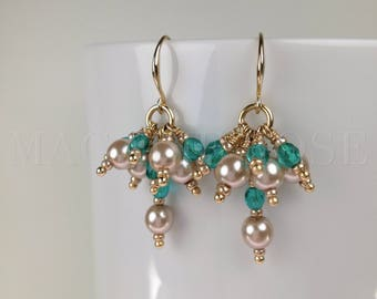 BABETTA • Aquamarine Chandelier Dangle Earrings For Women Bridesmaid Jewelry Statement Mermaid Earrings Gold Pearls Crystals Gift for Her