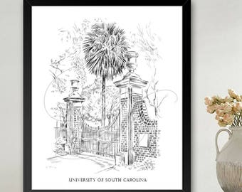 University of South Carolina, USC Art Print Hand Drawn, University, State College ( Sizes  5 x 7, 8 x 10, 13 x 19, 16 x 20)