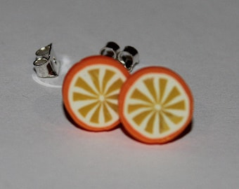 Orange Earrings / Orange Studs / Fruit Studs / Kawaii Orange Studs / Kawaii Citrus Orange Studs / Kawaii Fruit Earrings
