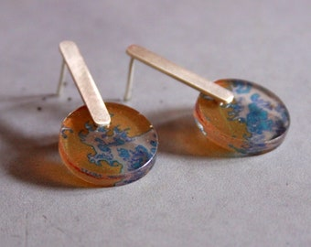 Long Sterling Silver Earstuds with Japanese Style Wave pattern printed Plexi, Modern Silver Jewelry, Contemporary art