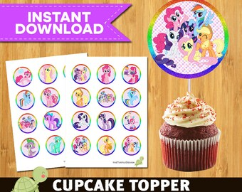 24 My Little Pony Toppers -  My Little Pony Package -  My Little Pony Printable Party Circles