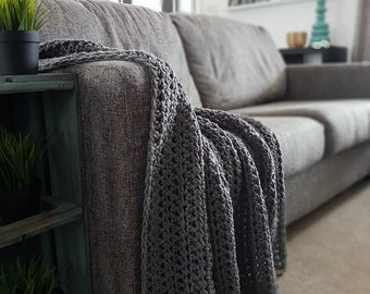 Crochet Blanket, Grey Blanket, Throw Blanket, Grey Throw Blanket, Chunky Crochet Throw, Crochet Blankets, Crochet Throw