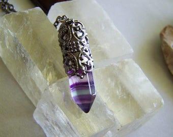 Rainbow Fluorite Gemstone Filigree Silver Bullet Jewelry Pendant