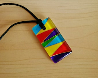 Hand painted Rainbow Colours glass pendant necklace