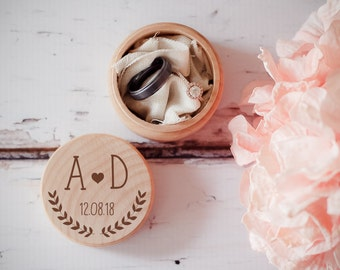 Engraved Wedding Ring Box, Wooden Ring Box, Wedding Gift, Ring Bearer Box, Engraved Wooden Box, Custom Initials Box, With This Ring Box