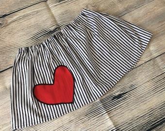 Baby Skirt, Baby Clothing, Baby Shower, Red Heart,  Baby Gift