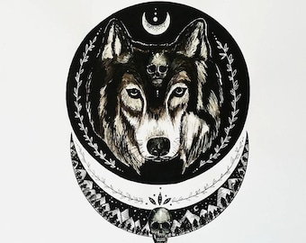 Wolf Moon Painting A4 print
