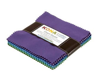 Kona Cotton Solids Charm Pack - 5 inch Squares - Sunset Colorstory