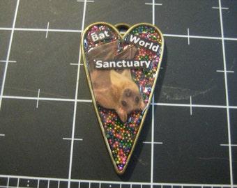 100% Donation Item: Bat World Sanctuary, Multicolor Metal Microbead Peekaboo Pendant, All of the proceeds go to Bat World Sanctuary