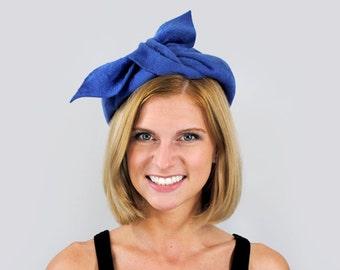 60's bow hat. 1960's wool hat. fuzzy faux fur. purple hat. big bow. 1960 blue hat.