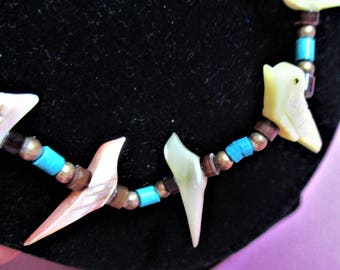 Heishi Beaded Necklace Boutique Jewelry Necklace Mother of Pearl Bird Fetish Brown Turquoise Heishi Beads Vintage Accessory Costume Jewelry