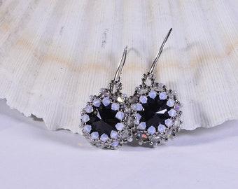 Seed Beads Earrings, Rivoli Earrings, Beaded Jewelry, Black Crystal Earrings, Birthday Gift Idea, custom jewelry