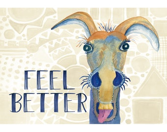 Sick donkey get well card, feel better greeting, burro, farm animal mugshot face, barfy colors, illustration, hand lettering, sick and tired