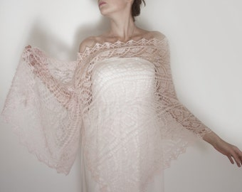 Bridal Cover Up, Rose Quartz Bridal Shawl, Knit Bridal Shawl, Blush pink Wedding Cover Up, Evening Shawls and Wraps, Hand Knit Scarf