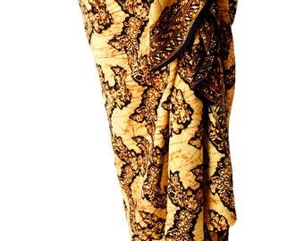 Batik Tribal Sarong Hawaiian Beach Sarong Mens or Womens Clothing - Batik Sarong Brown & Black Sarong Beach Cover Up - After Surf Clothes