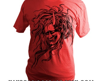 Red Japanese Oni Head Screen Printed T-Shirt, Demon, Spirit, Folklore, Unisex, Men, Women, Made in USA, Limited Stock, Made in USA