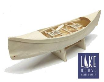 """7"""" Bare Wood Canoe Boat. Small Unfinished Wooden Boat Canoe. Wood Kayak. Wood Boat."""