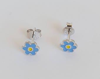 Tiny Blue Enamel Flower Stud Earrings