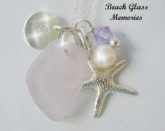 Sea Glass Necklace Personalized Necklace Aqua Beach Glass Necklace Seaglass Jewelry Charm Necklace Starfish
