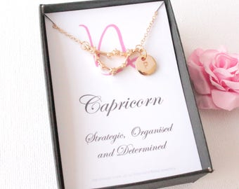Gold capricorn  necklace, capricorn gift, capricorn pendant, capricorn star sign, Aries sign necklace, astrology necklace, bridesmaid gift