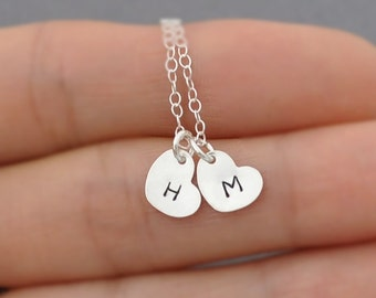 Two Hearts Initial Necklace, Personalization Gift, All Sterling Silver, Everyday Jewelry, Hand Stamped Custom necklace, tiny cute petite
