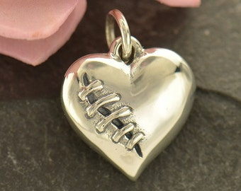 Sterling Silver, Mended Heart, Heart Charm, Mended Heart Charm, Silver Mended Heart, Silver Heart, Silver Heart Charm, Heart Jewelry