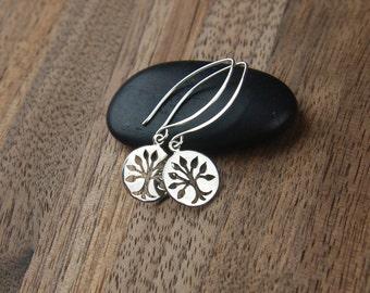 Long tree of life earrings in sterling silver, long earrings, cut out tree, family tree, tree of life charm