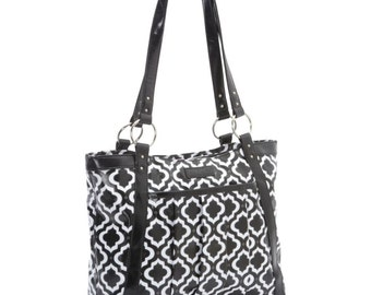 Black and White Moroccan Laptop Bag -Women's Laptop Bag, Laptop Tote, Coated Canvas and Vegan Leather