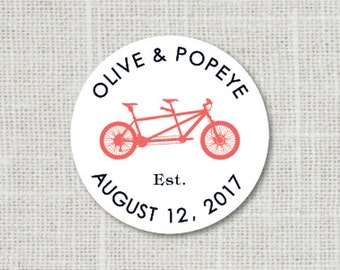 Tandem Bicycle Sticker, Bike Wedding Stickers, Wedding Favor Stickers