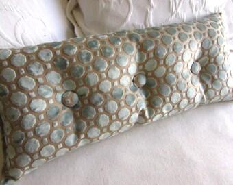 velvet mineral blue 9x25 Bolster/lumbar pillow with buttons