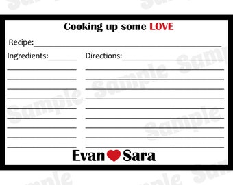 """50 Personalized Recipe Cards  -  Cooking Up Some Love Design - 4x6"""" Size"""