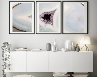 Set of - 3  Prints - (Print #'s 567, 568, 569 )   Fine Art Print - Two Paper Choices- Mineral Geode Agate Crystal Decor
