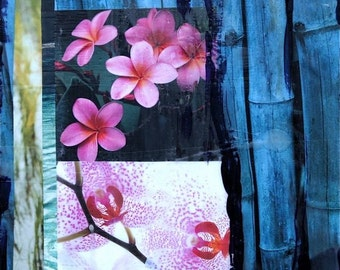 Orchid & Bamboo Paradise, Giclee, 8x8 and Up, Wall Art, Tropical Art, Collage, Best Seller, Orchids, travel, Blue, by Susan Wickstrand