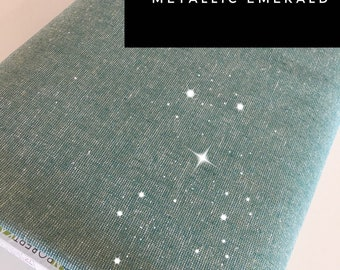 Linen Blend, Coton Linen, Metallic fabric, Gold Sparkle Fabric, Essex Linen, Apparel, Wedding Decor Fabric, Metallic Essex in Emerald